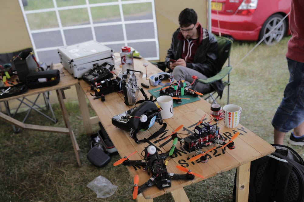 FPV drone racing equipment on show in the pits. Photo credit: David Stock.