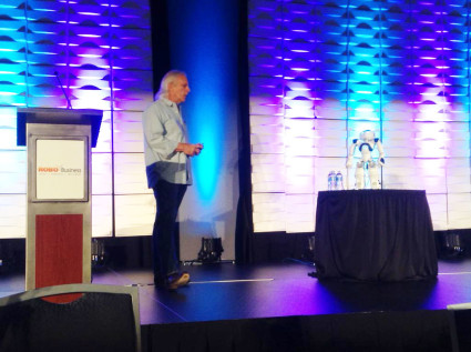 IBM's Rob High chats with Nao during RoboBusiness 2015 keynote.