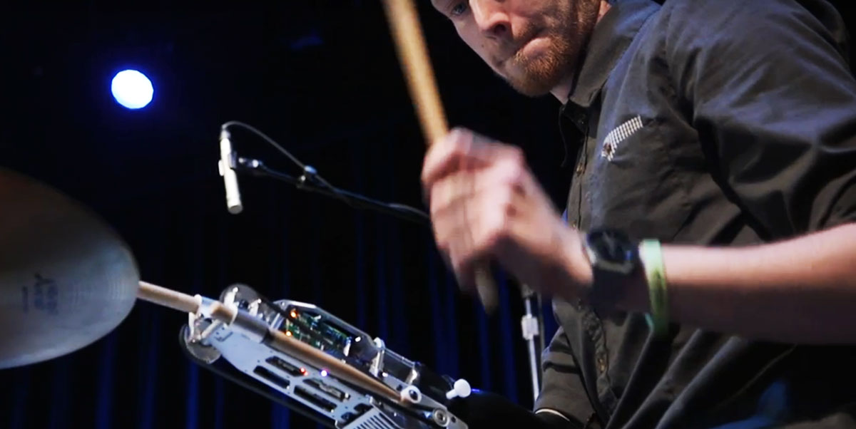 Jason Barnes, an amputee drummer who tours nationwide by playing with a robotic arm.