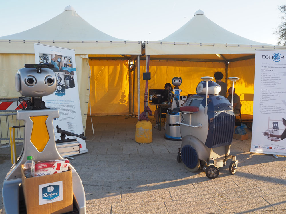 :  The three assistance living robots of Robot-Era project ready to welcome the public. Photo credits: euRathlon