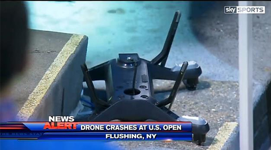 A drone crashed at the U.S. Open. Image via Sky Sports.