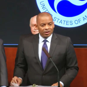 October 19, 2015. US Transportation Secretary Anthony Foxx announces unmanned aircraft registration requirement.