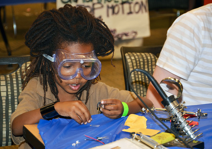 Learning how to solder at the Ann Arbor Mini Maker Faire.