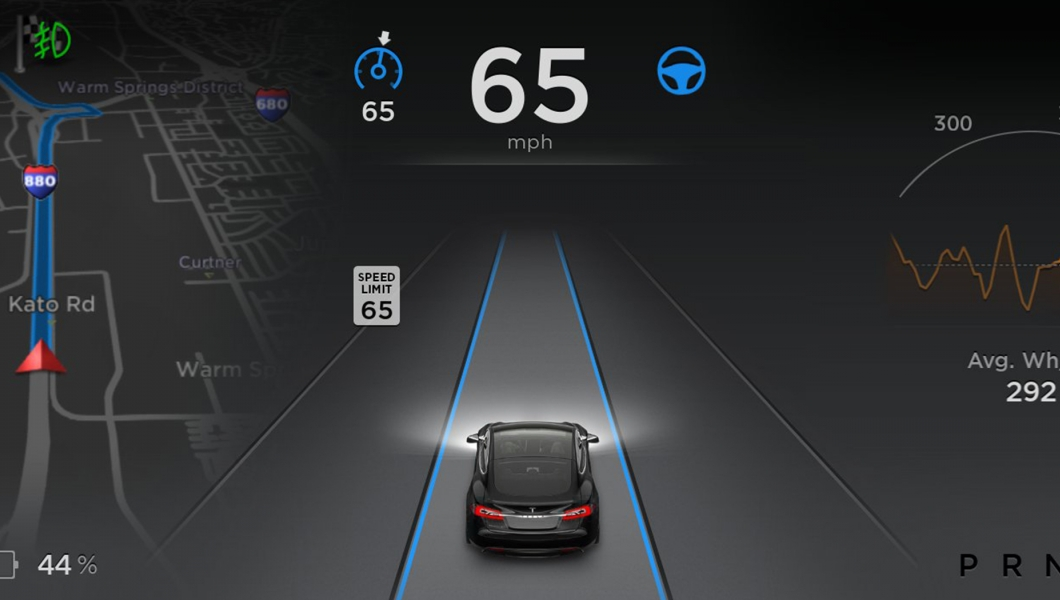 Tesla Model S autopilot-software. Source: Tesla