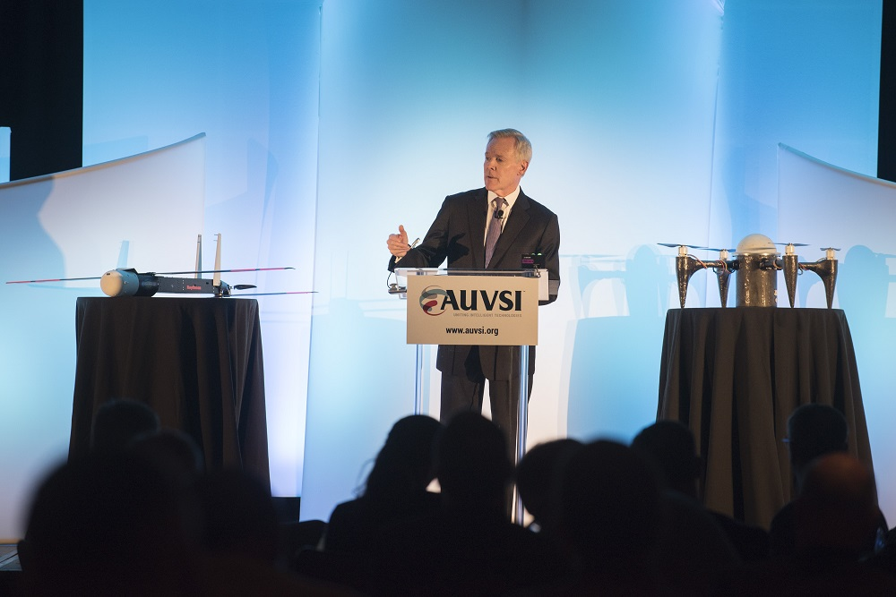 Secretary of the Navy Ray Mabus delivers remarks about the drone industry at AUVSI's Unmanned Systems Defense. Credit: Mass Communication Specialist 2nd Class Armando Gonzales/U.S. Navy