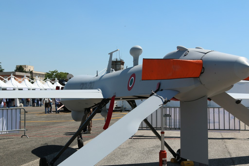 An Italian Air Force MQ-1 Predator drone on display at a trade show in Rome earlier this year. Credit: Dan Gettinger
