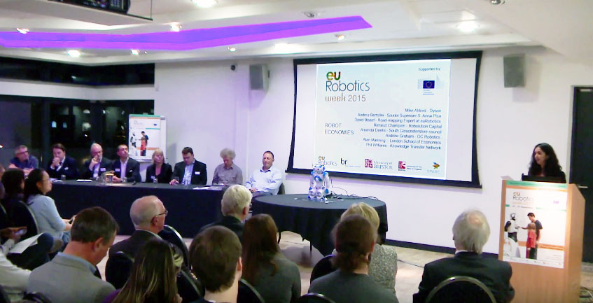 """Robots and Society"" panel discussion at the Bristol Robotics Lab during European Robotics Week 2015 ERW2015"