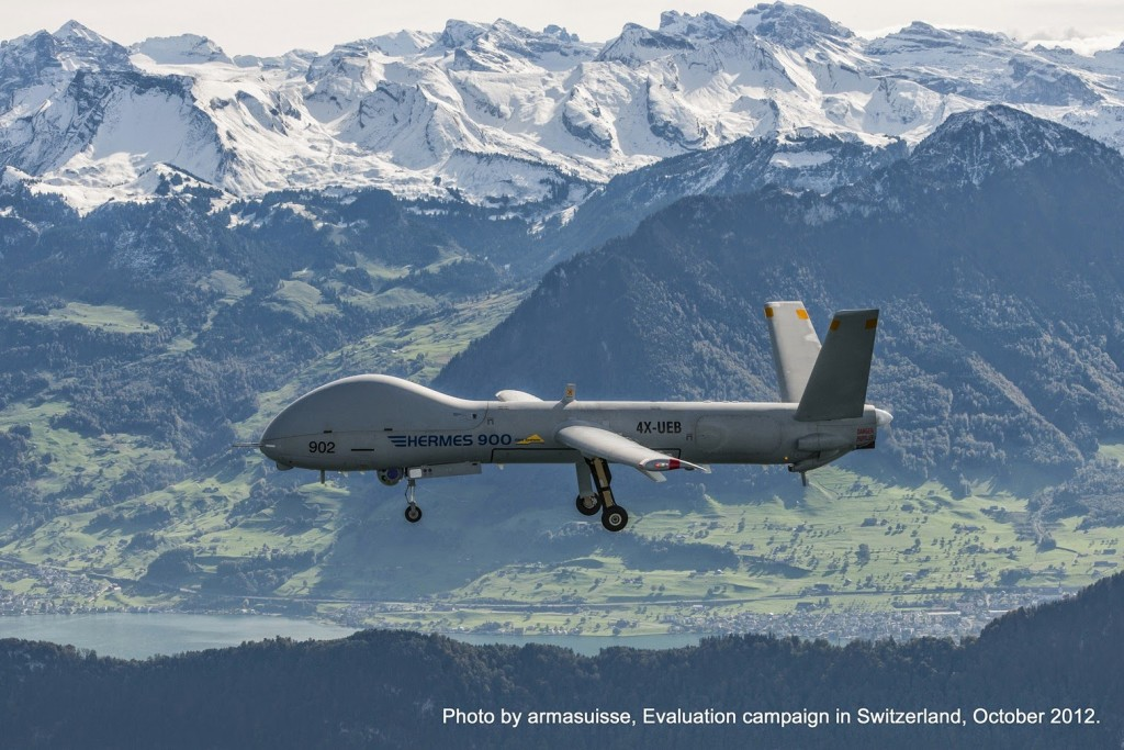 A Hermes 900 flying as part of the Swiss evaluation campaign in 2012. Credit: armasuisse