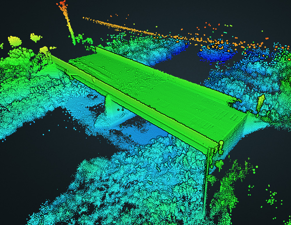 A close-up view of the 3-D model created by a bridge inspection robot from the ARIA project flying under a bridge to create a high-resolution 3-D model and image dataset that can aid inspection. Credit: Varun Kasireddy, Carnegie Mellon University