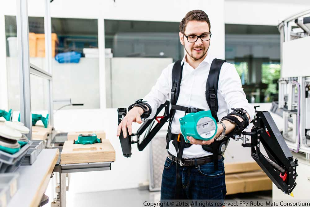 Researchers are developing an exoskeleton prototype that makes it easier to carry heavy loads. Image courtesy of Robo-Mate.