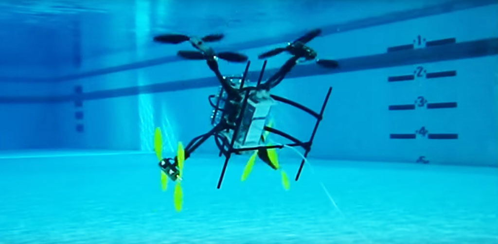A team at Rutgers University's Department of Mechanical and Aerospace Engineering has developed a drone that can both fly and swim. Credit: Javier Diaz/ YouTube