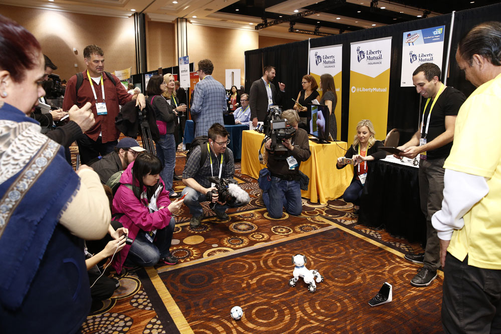 Robots on the show floor of CES Unveiled Las Vegas on January 4, 2016. Source: Consumer Technology Association
