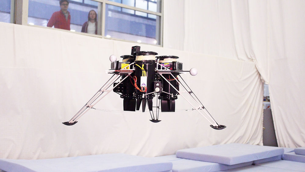 This flying machine uses ducted fans for propulsion and control