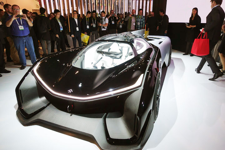 The Faraday Future concept electric racecar is cool, but seems to be completely at odds with everything we had heard about what FF was up to. Photo credit: Brad Templeton