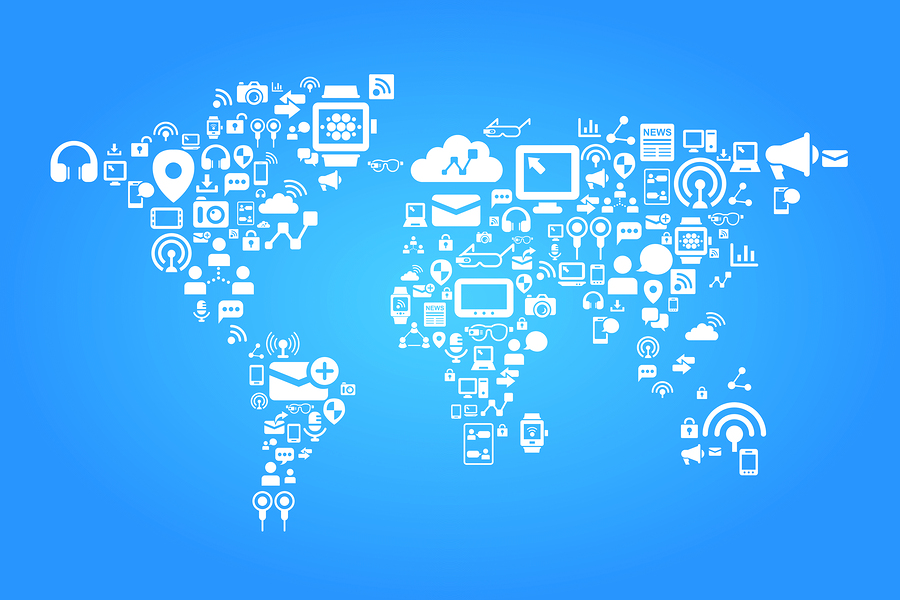 Social media concept - world map with social media icon