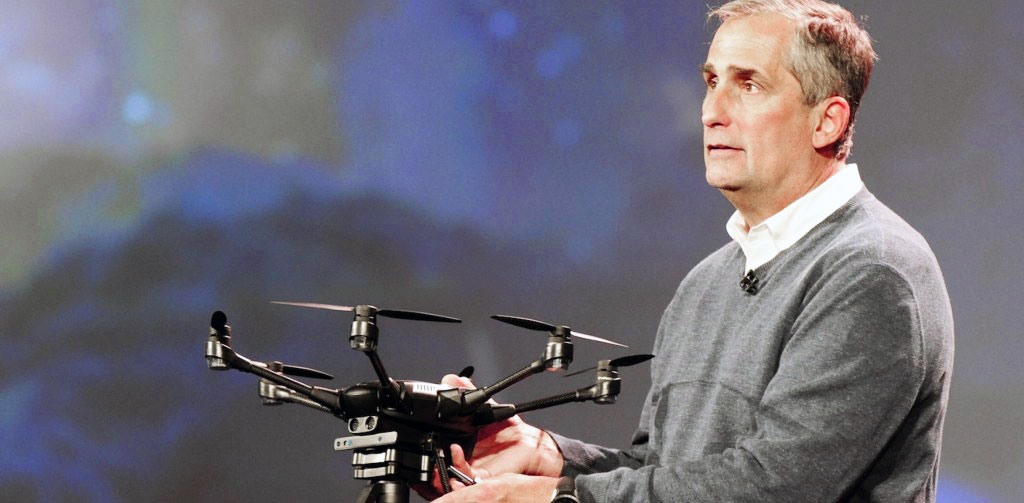 At the 2016 Consumer Electronics Show, Intel Corporation CEO Brian Krzanich released footage of a display that set the Guinness World Record for most drones in the air at a time. Image via: Intel