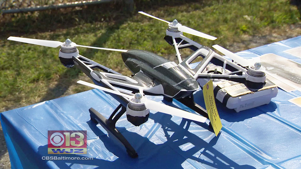 A US jury convicted Thaddeus Shortz of intending to use a drone to smuggle contraband into a Maryland prison. Image credit: CBS Baltimore