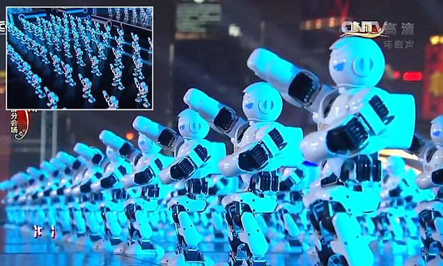 Dance troupe of 540 robots . Source: youtube