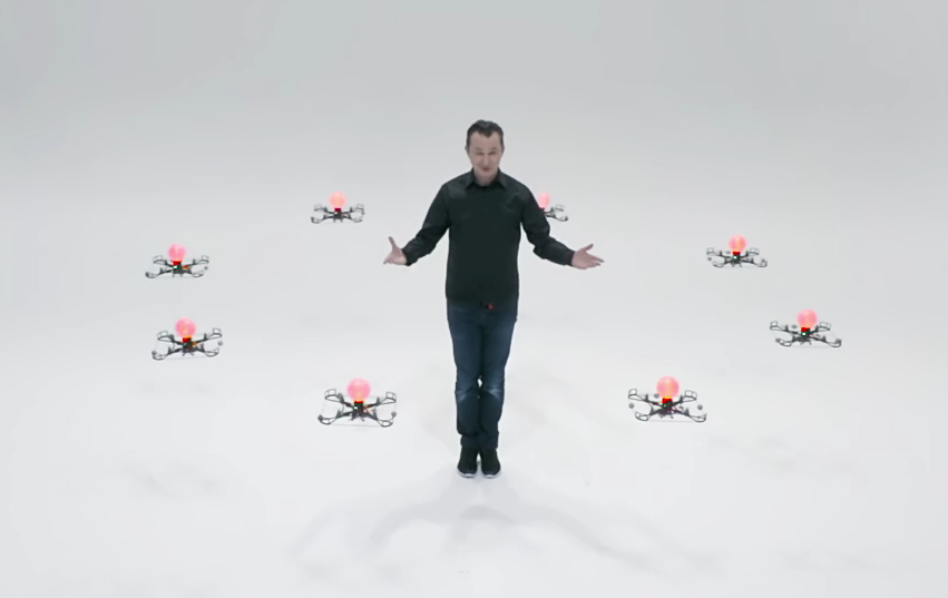 Magician Marco Tempest performing with a swarm of drones. Credit: Marco Tempest/YouTube