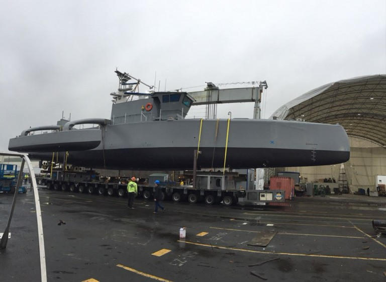 The Anti-Submarine Warfare Continuous Trail Unmanned Vessel getting prepped for sea trials. Credit: DARPA