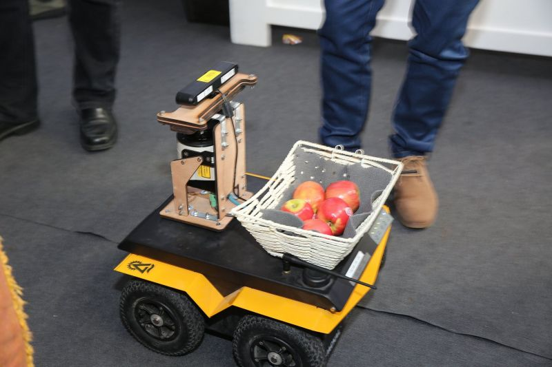 Picked apples were placed in a basket on top of a Jackal UGV and delivered to people in the crowd at Microsoft's Think Next exhibition. Source: Clearpath Robotics