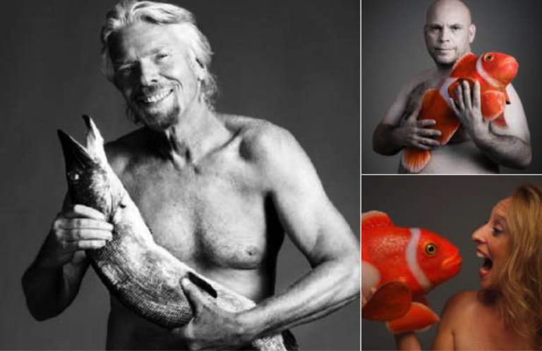 Richard Branson poses with dead fish for Fishlove, Simeon Pieterkosky and Liane Thompson pose with a robot fish.
