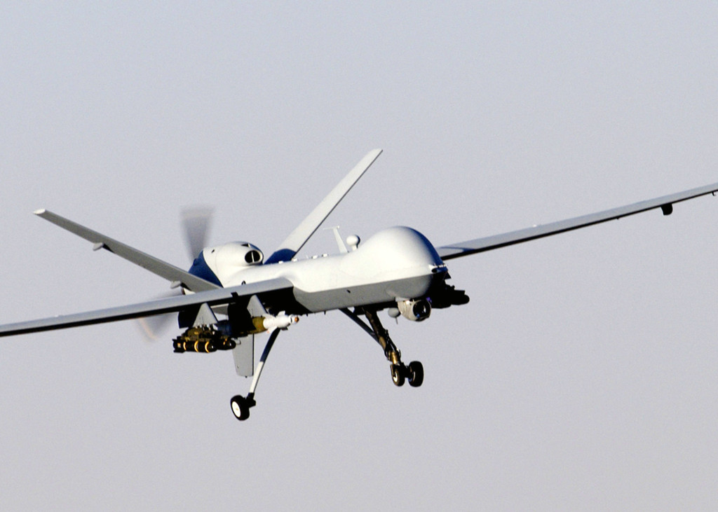 A MQ-9 Reaper unmanned aerial vehicle prepares to land (U.S. Air Force photo/Staff Sgt. Brian Ferguson)