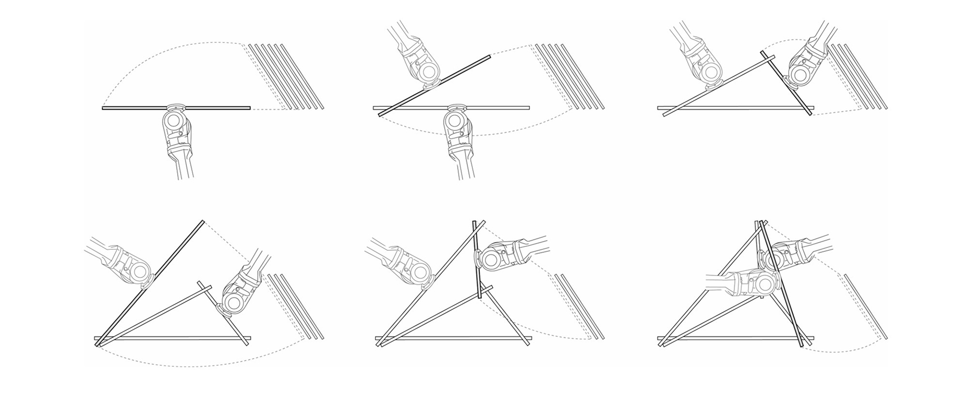 Figure 2: Conceptual Diagram of multi-robotic assembly strategy, exemplified through the sequential build-up of a spatial triangulated structure. Two robots are alternating in order to position the elements and at the same time serve as support structure.