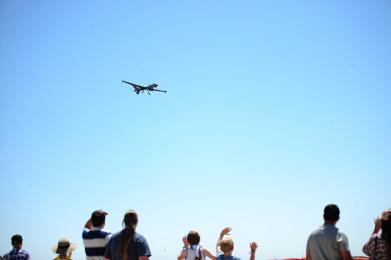 An MQ-9 Reaper flies at an air show demonstration at Cannon Air Base, NM. Cannon is home to the Air Force Special Operations Command's drone operations. Credit: Tech. Sgt. Manuel J. Martinez / US Air Force