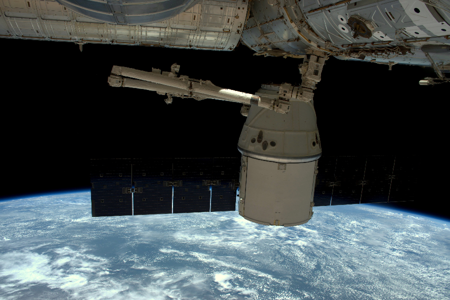 European Space Agency astronaut Tim Peake captured this photograph of the SpaceX Dragon cargo spacecraft as it undocked from the International Space Station on May 11, 2016. Image Credit: ESA/NASA: