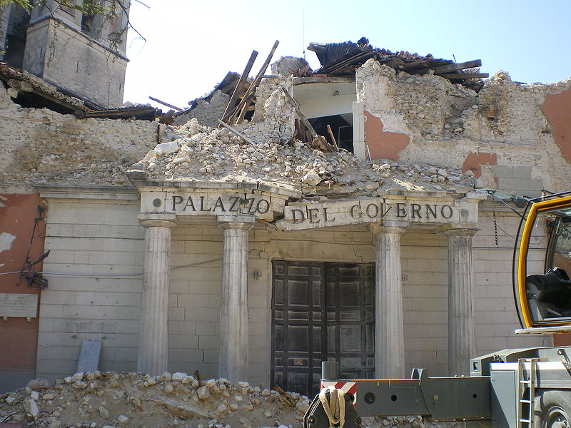L'Aquila, Abruzzo, Italy. A goverment's office disrupted by the 2009 earthquake. Source: Wikipedia Commons