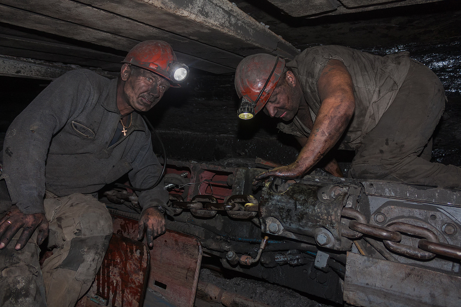 Donetsk, Ukraine - August 16, 2013: Miners Near The Coal Mining