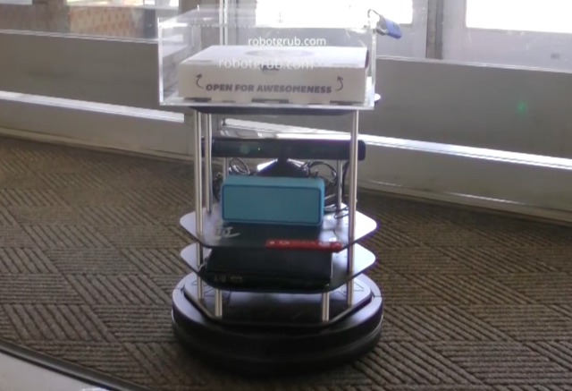 The cookie delivery robot successfully gained entrance into the residence hall. (Image courtesy of Serena Booth.)
