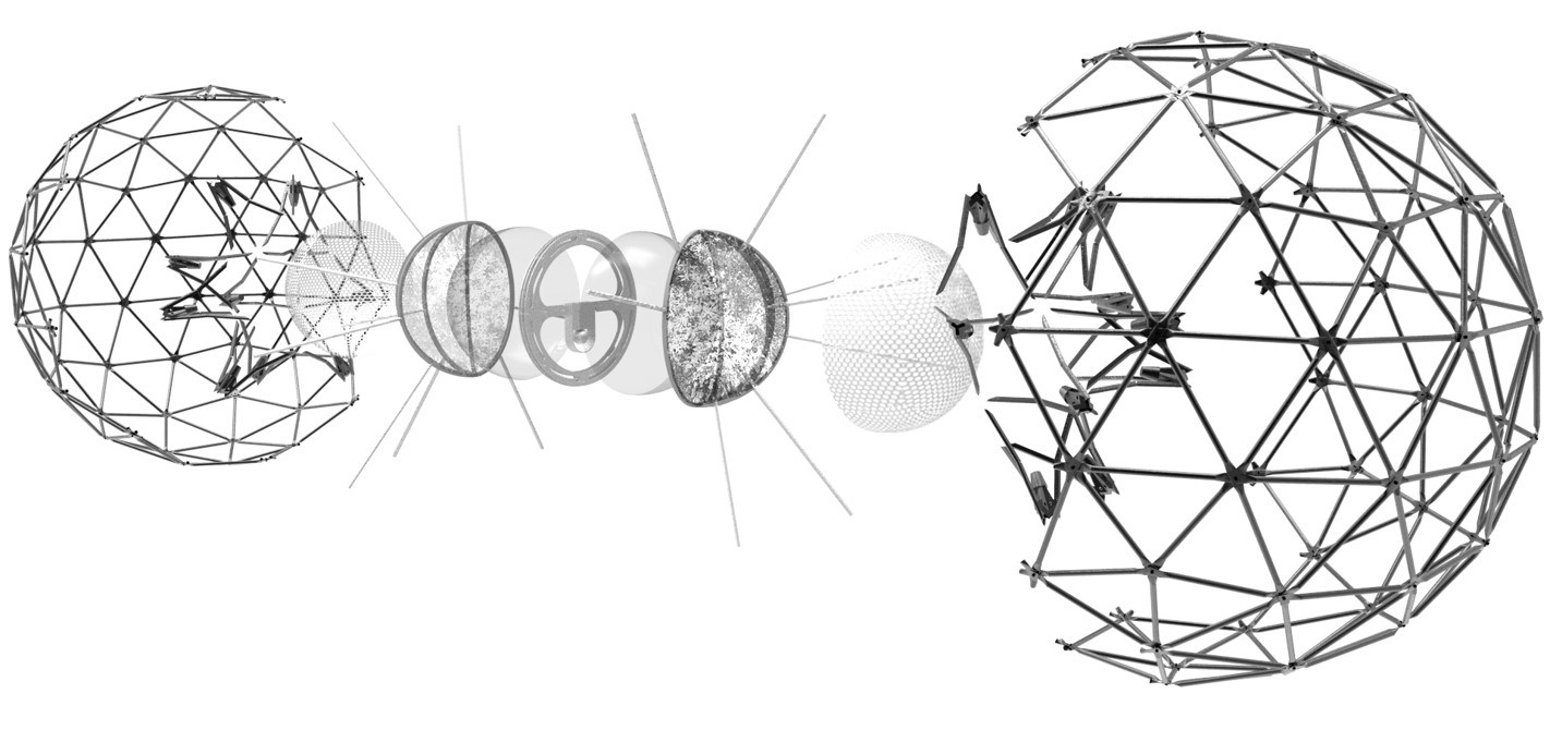 Robotic Structure, Supports, Plants, Wire Mesh, Shading Devices and Geodesic Sphere