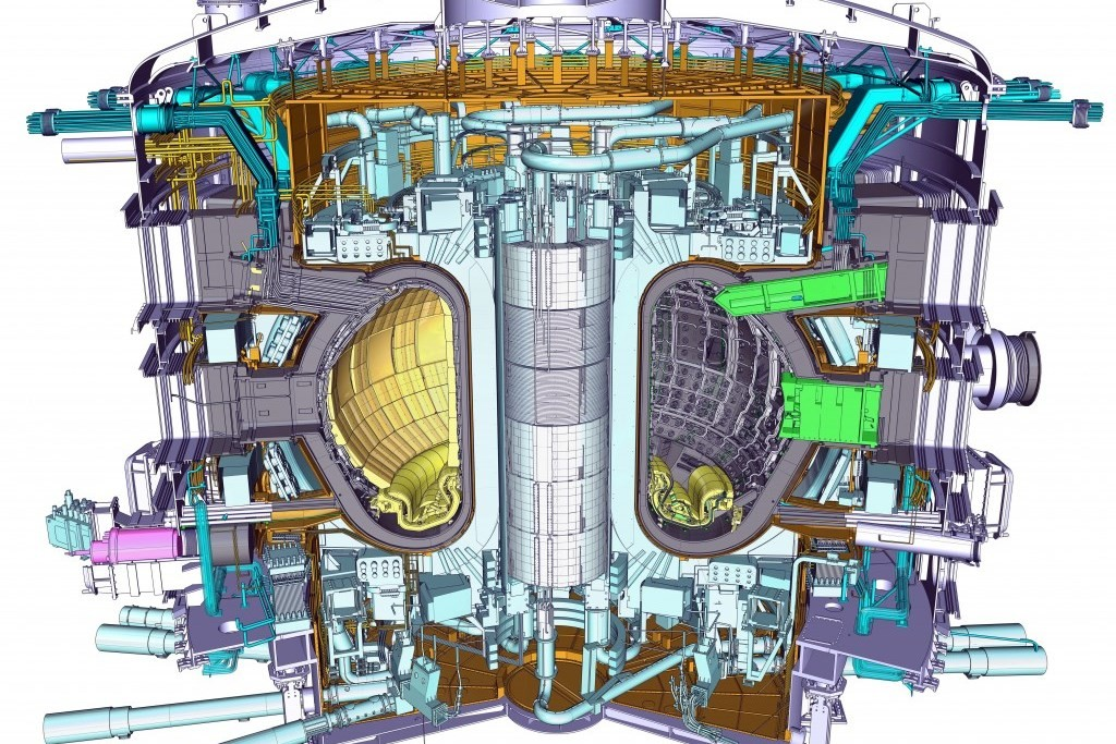 A cross-sectional view of the ITER tokamak.
