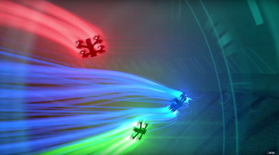 Racing drones in flight. The Drone Racing League, CC BY-ND
