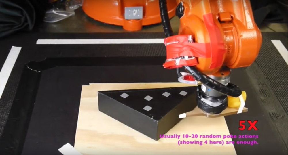 Robot learns to push object and identifies patch friction model. Source: YouTube
