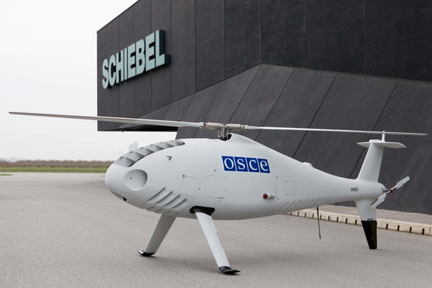 A Schiebel Camcopter drone operated by the OSCE. Source: The Center for the Study of the Drone