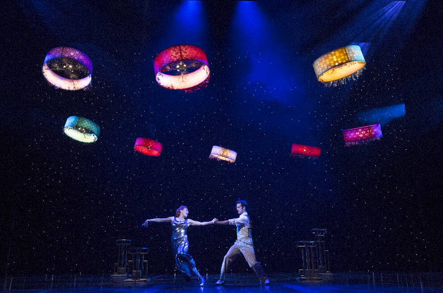 Photo: Cirque du Soleil - PARAMOUR on Broadway - at the Lyric Theatre. Featuring Flying Machine Design and Choreography by Verity Studios. Pictured: Ruby Lewis as 'Indigo' Ryan Vona as 'Joey'. ©, Cirque du Soleil Theatrical. Photo by: Richard Termine
