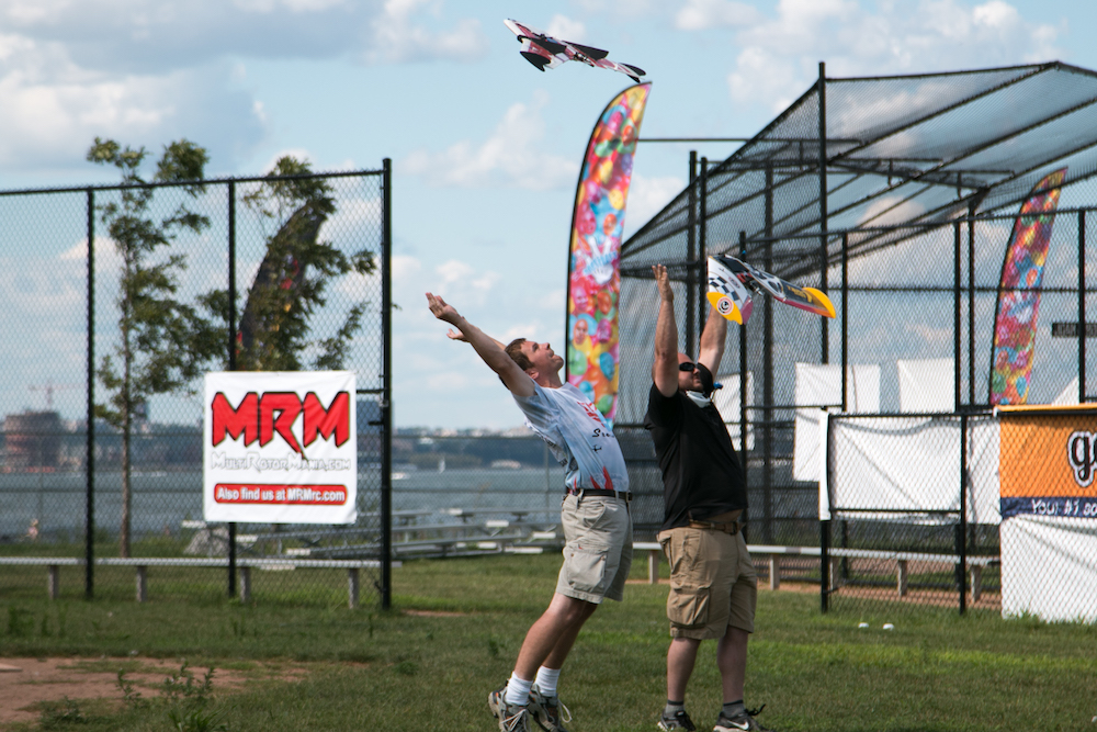 The start of a fixed-wing drone race at the U.S. Drone Racing Championships. Credit: Dan Gettinger