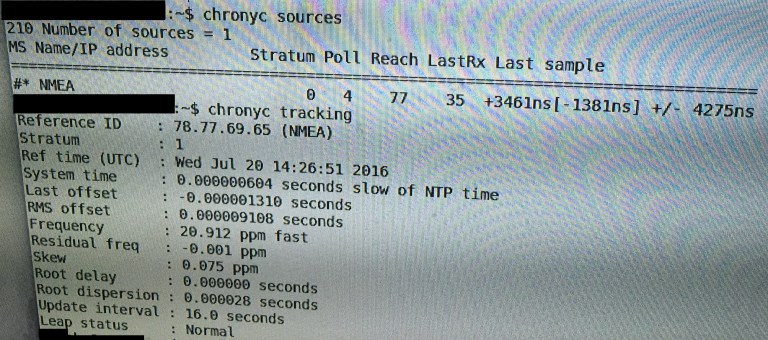 Output of tracking and sources command for chrony while using GPS. If PPS was enabled it would also show as a source. Source: Wikipedia Commons