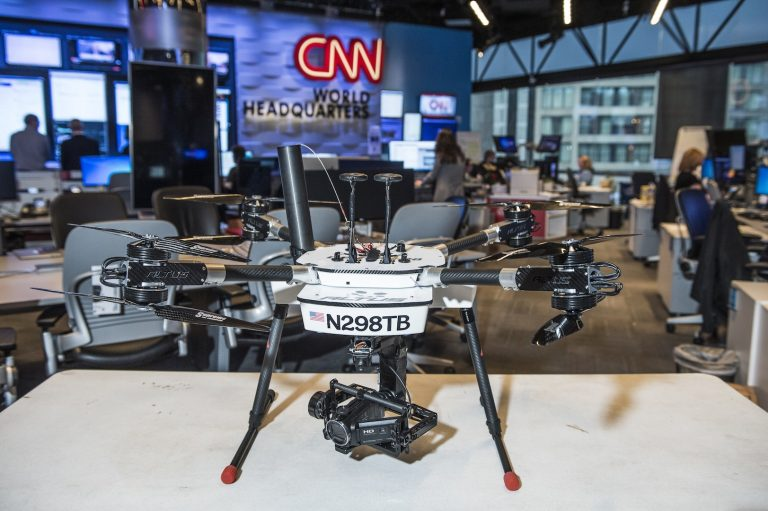 An Altus Delta X8 multi-rotor drone in the CNN newsroom. Credit: CNN