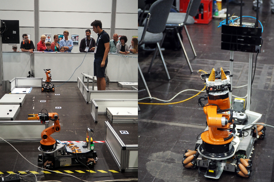 Standard platforms used in RoboCup@Work and ERL Industrial Robots. Photo: European Robotics League