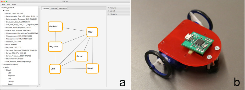 "Figure 3: (a) A ""Seg"" robot PCB designed within the EMLab codesign environment and (b) the final mini ""Seg"" robot created with EMLab. Source: Nicola Bezzo"