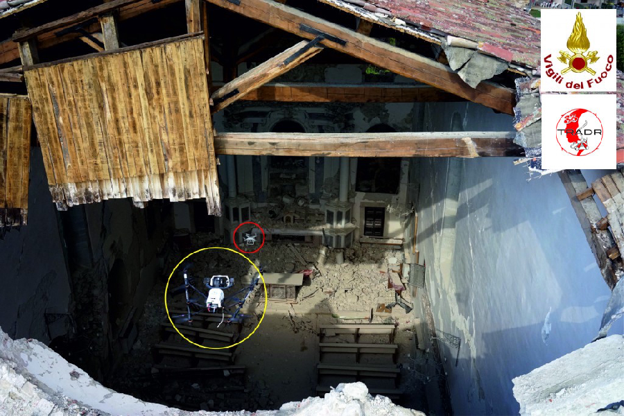 UAV entering the Sant'Agostino church with one of the UAVs observing it (the other observing UAV is taking the picture). Credit: TRADR