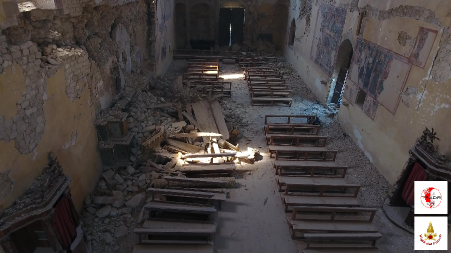 UAV image inside the San Francesco church. Credit: TRADR