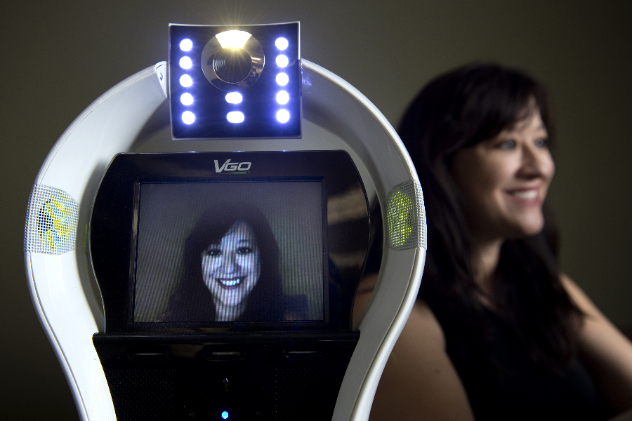 """Every year, large numbers of K-12 students are not able to go to school due to illness, which has negative academic, social and medical consequences,"" says UCI doctoral student Veronica Newhart, lead author of a study on the benefits of telepresence robots, such as the one shown. Credit: Steve Zylius / UCI"