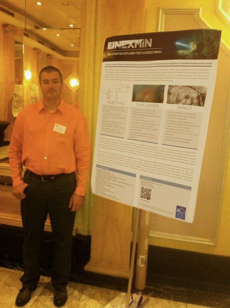Norbert Zajzon, UNEXMIN project coordinator, presenting the poster in Brussels. Source: UNEXMIN