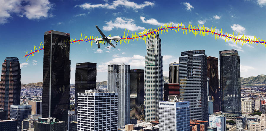 Simulation results for a unmanned drone flying over downtown Los Angeles showing the true trajectory (red line), from GPS only (yellow line), and GPS aided with cellular signals (blue line). Image: ASPIN Laboratory at UC Riverside