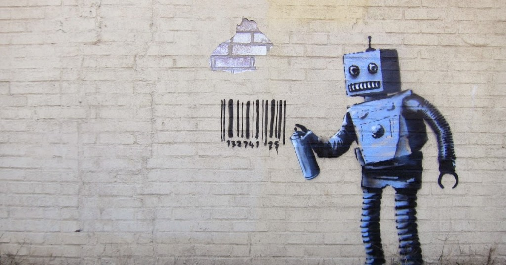 Banksy robot and barcode graffiti in New York, USA.